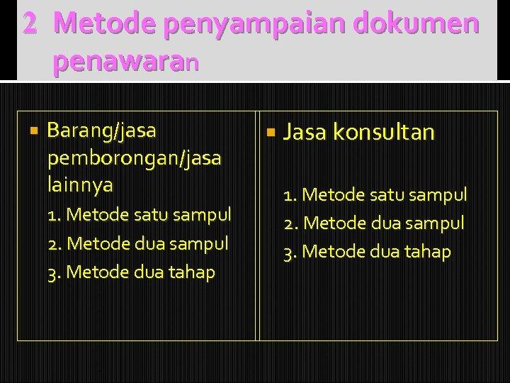 2 Metode penyampaian dokumen penawaran Barang/jasa pemborongan/jasa lainnya 1. Metode satu sampul 2. Metode
