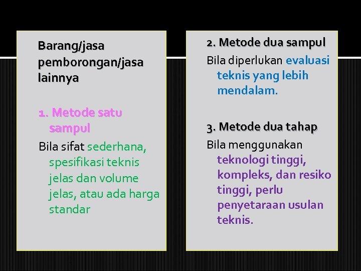 Barang/jasa pemborongan/jasa lainnya 1. Metode satu sampul Bila sifat sederhana, spesifikasi teknis jelas dan