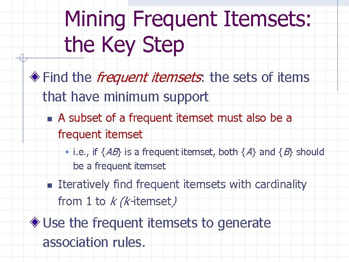 Mining Frequent Itemsets: the Key Step Find the frequent itemsets: the sets of items