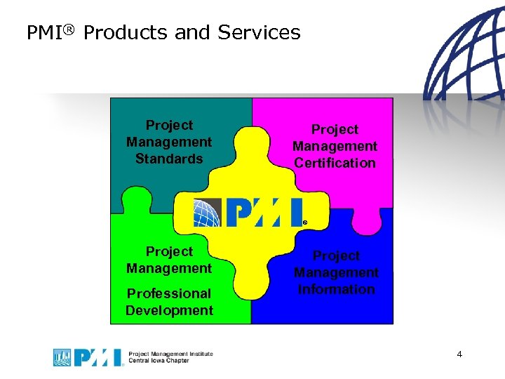 PMI® Products and Services Project Management Standards Project Management Certification ® Project Management Professional