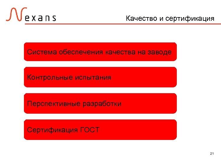 Качество и сертификация Система обеспечения качества на заводе Контрольные испытания Перспективные разработки Сертификация ГОСТ