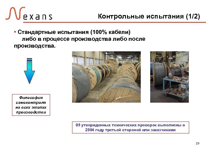 Контрольные испытания (1/2) • Стандартные испытания (100% кабели) либо в процессе производства либо после