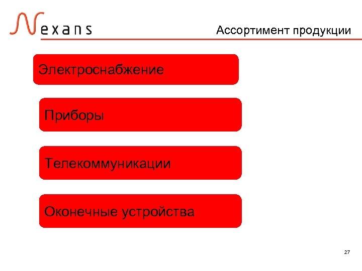 Ассортимент продукции Электроснабжение Приборы Телекоммуникации Оконечные устройства 27