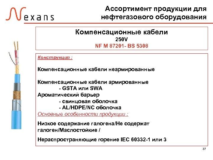 Ассортимент продукции для нефтегазового оборудования Компенсационные кабели 250 V NF M 87201 - BS
