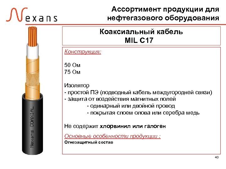 Ассортимент продукции для нефтегазового оборудования Коаксиальный кабель MIL C 17 Конструкция: 50 Ом 75