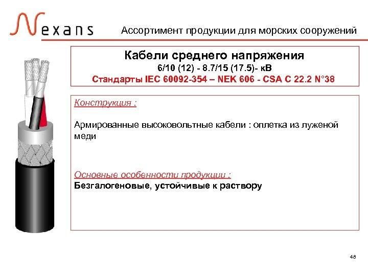 Ассортимент продукции для морских сооружений Кабели среднего напряжения 6/10 (12) - 8. 7/15 (17.