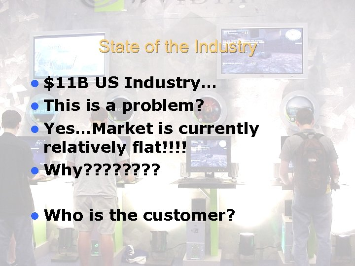 State of the Industry l $11 B US Industry… l This is a problem?