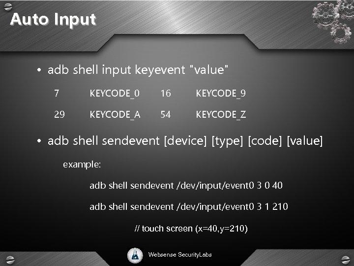 Auto Input • adb shell input keyevent