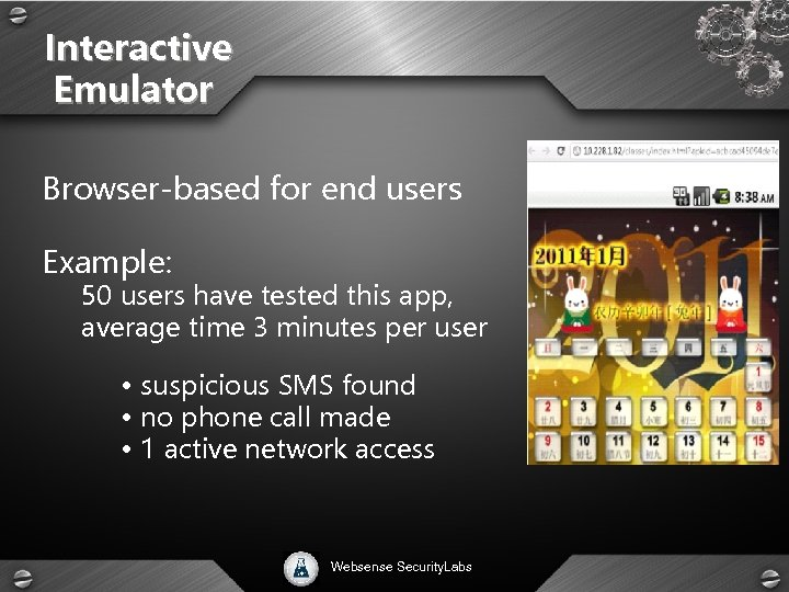 Interactive Emulator Browser-based for end users Example: 50 users have tested this app, average
