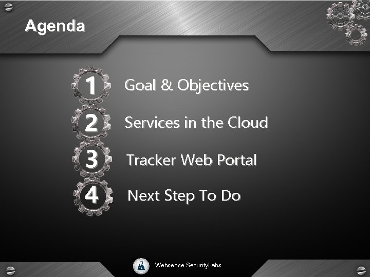 Agenda 1 Goal & Objectives 2 Services in the Cloud 3 Tracker Web Portal
