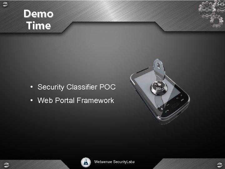 Demo Time • Security Classifier POC • Web Portal Framework Websense Security. Labs
