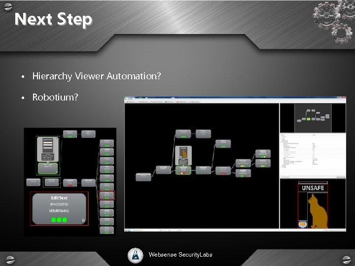 Next Step • Hierarchy Viewer Automation? • Robotium? Websense Security. Labs