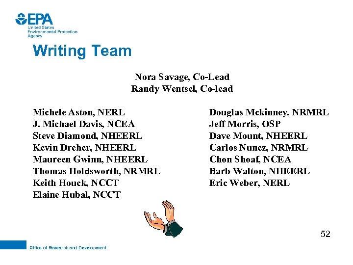 Writing Team Nora Savage, Co-Lead Randy Wentsel, Co-lead Michele Aston, NERL J. Michael Davis,