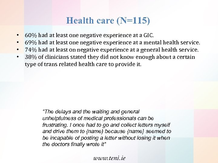 Health care (N=115) • • 60% had at least one negative experience at a