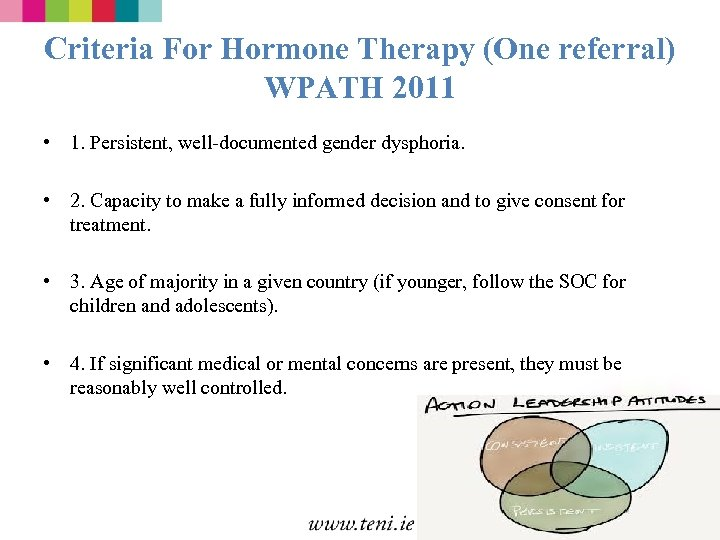 Criteria For Hormone Therapy (One referral) WPATH 2011 • 1. Persistent, well-documented gender dysphoria.