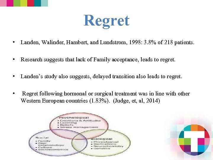 Regret • Landen, Walinder, Hambert, and Lundstrom, 1998: 3. 8% of 218 patients. •