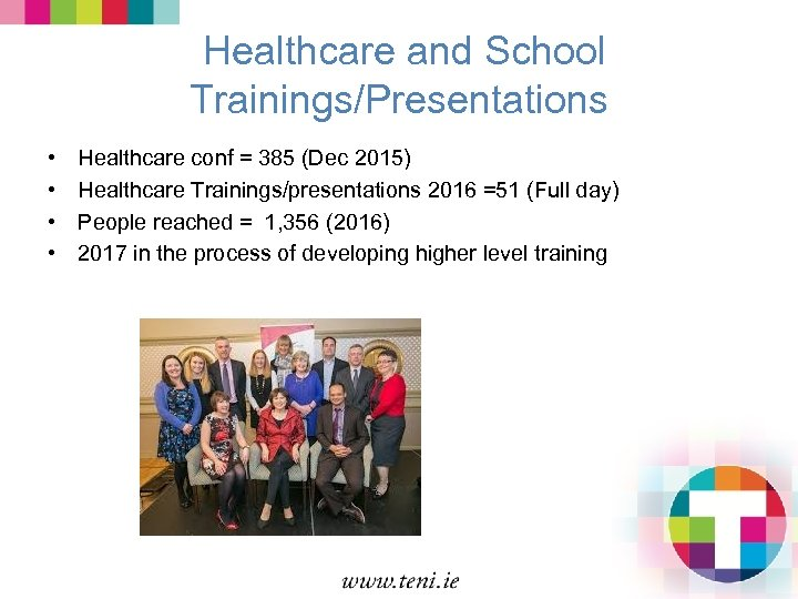 Healthcare and School Trainings/Presentations • • Healthcare conf = 385 (Dec 2015) Healthcare Trainings/presentations