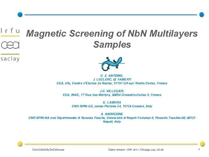Magnetic Screening of Nb. N Multilayers Samples C. Z. ANTOINE, J. LECLERC, Q. FAMERY