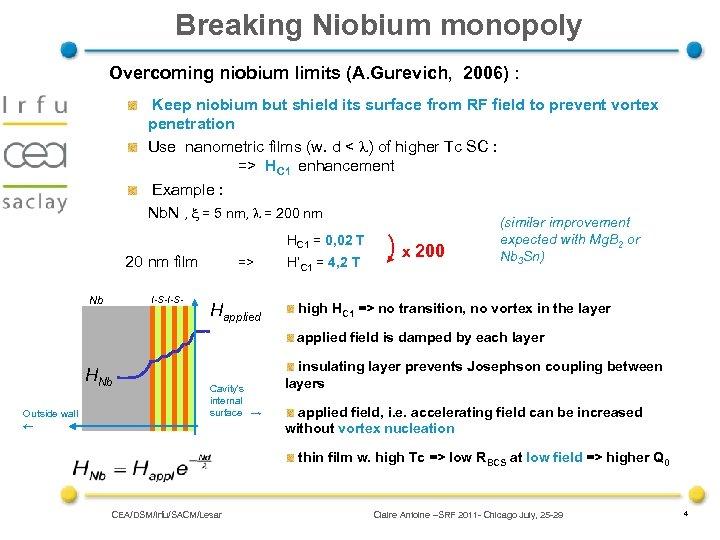 Breaking Niobium monopoly Overcoming niobium limits (A. Gurevich, 2006) : Keep niobium but shield