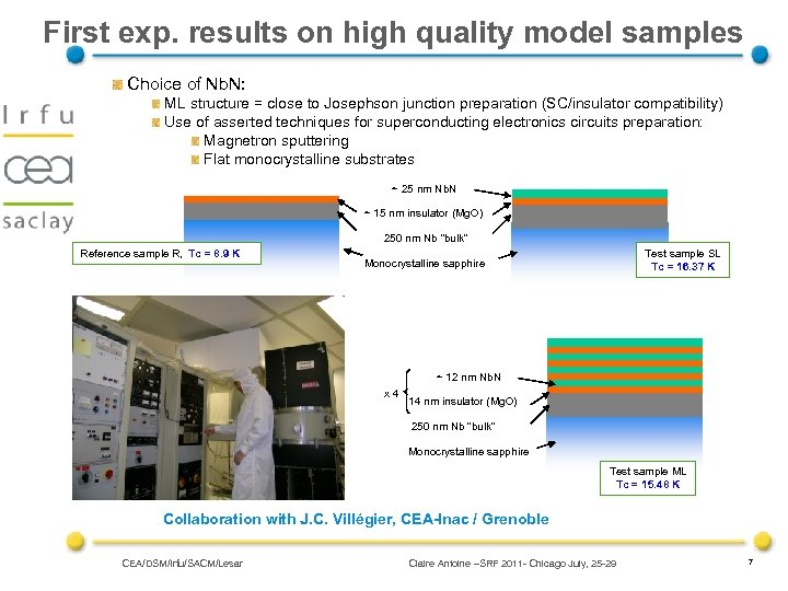 First exp. results on high quality model samples Choice of Nb. N: ML structure