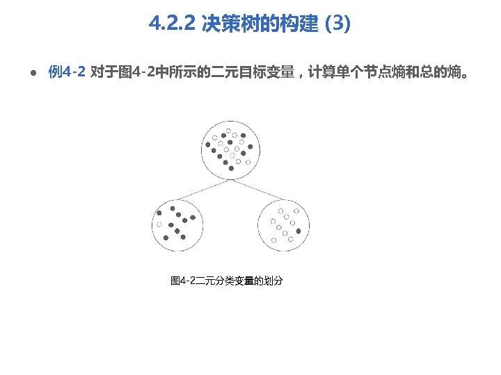 4. 2. 2 决策树的构建 (3) l 例4 -2 对于图 4 -2中所示的二元目标变量,计算单个节点熵和总的熵。 图 4 -2二元分类变量的划分