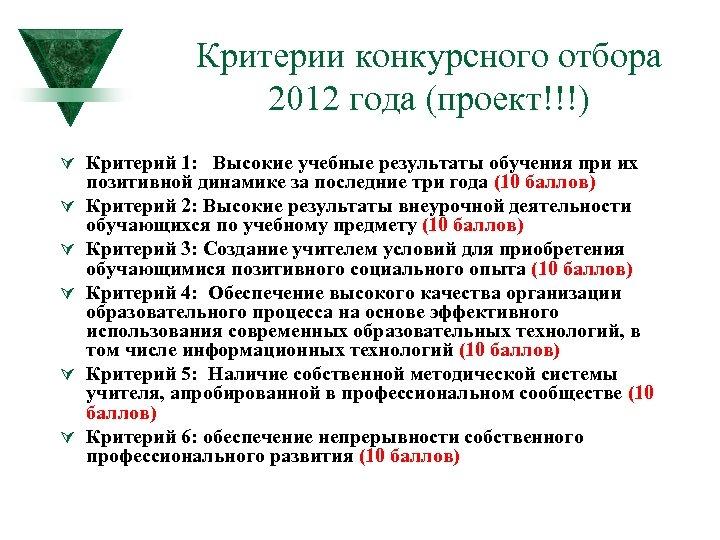 Критерии конкурсного отбора 2012 года (проект!!!) Ú Критерий 1: Высокие учебные результаты обучения при