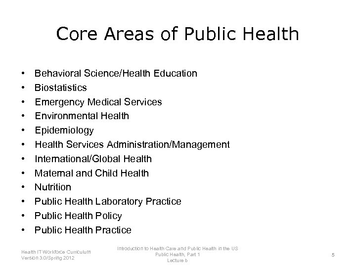 Introduction to Health Care and Public Health in