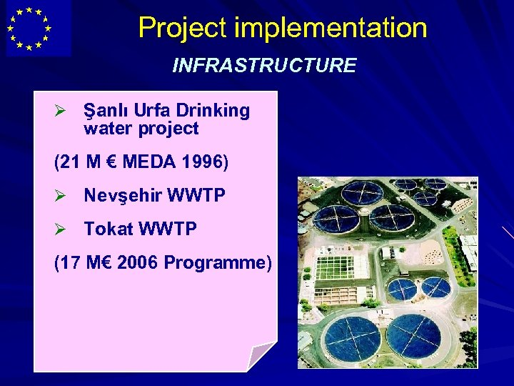 Project implementation INFRASTRUCTURE Ø Şanlı Urfa Drinking water project (21 M € MEDA 1996)