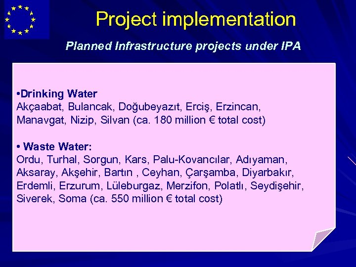 Project implementation Planned Infrastructure projects under IPA • Drinking Water Akçaabat, Bulancak, Doğubeyazıt, Erciş,