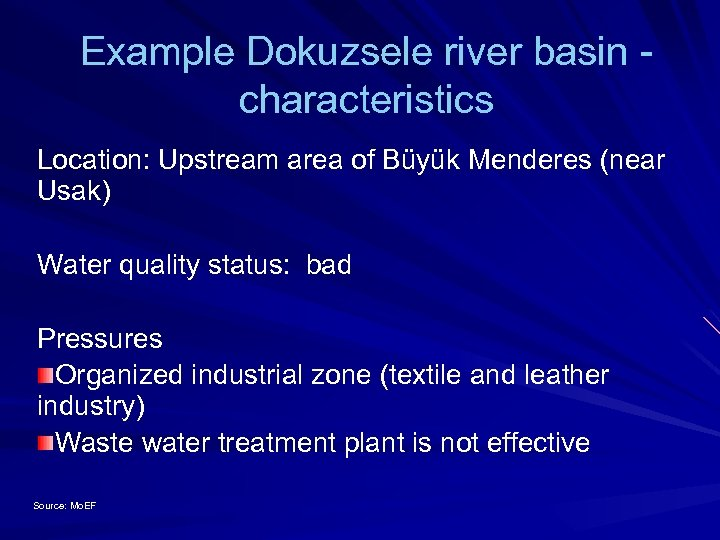 Example Dokuzsele river basin - characteristics Location: Upstream area of Büyük Menderes (near Usak)