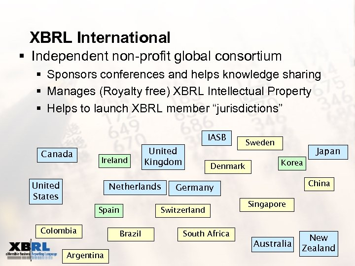 XBRL International § Independent non-profit global consortium § Sponsors conferences and helps knowledge sharing