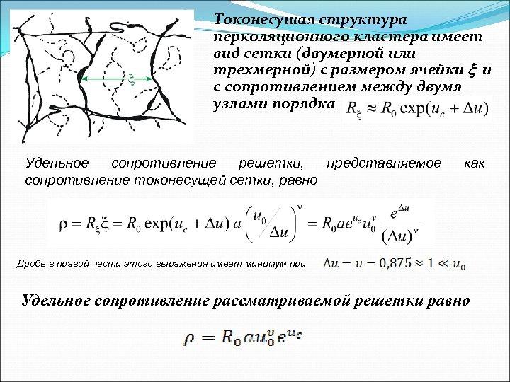 Токонесушая структура перколяционного кластера имеет вид сетки (двумерной или трехмерной) с размером ячейки x