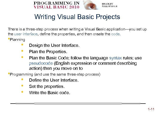 Writing Visual Basic Projects There is a three-step process when writing a Visual Basic