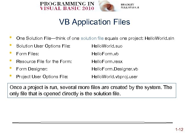 VB Application Files • • • One Solution File—think of one solution file equals
