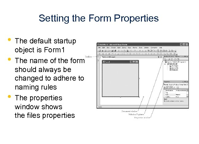 Setting the Form Properties • • • The default startup object is Form 1