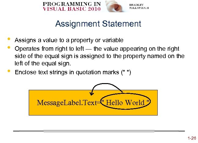 Assignment Statement • • • Assigns a value to a property or variable Operates