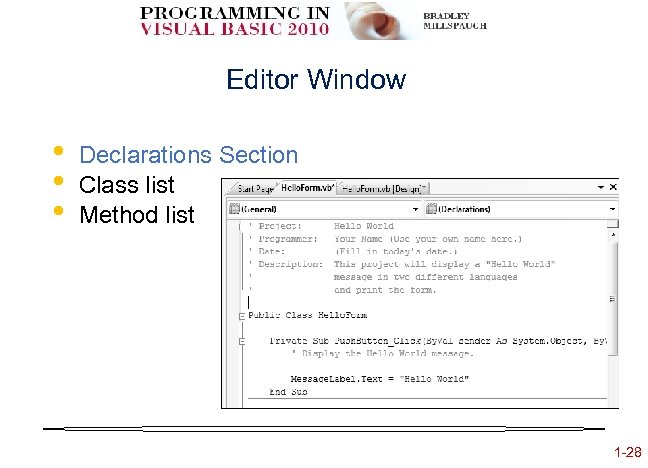 Editor Window • • • Declarations Section Class list Method list 1 -28