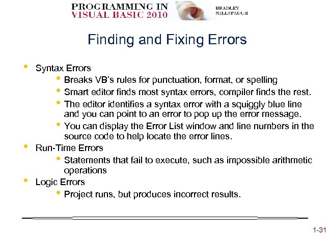 Finding and Fixing Errors • • • Syntax Errors • Breaks VB's rules for
