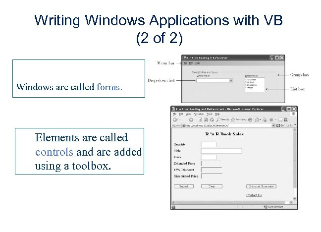 Writing Windows Applications with VB (2 of 2) Windows are called forms. Elements are