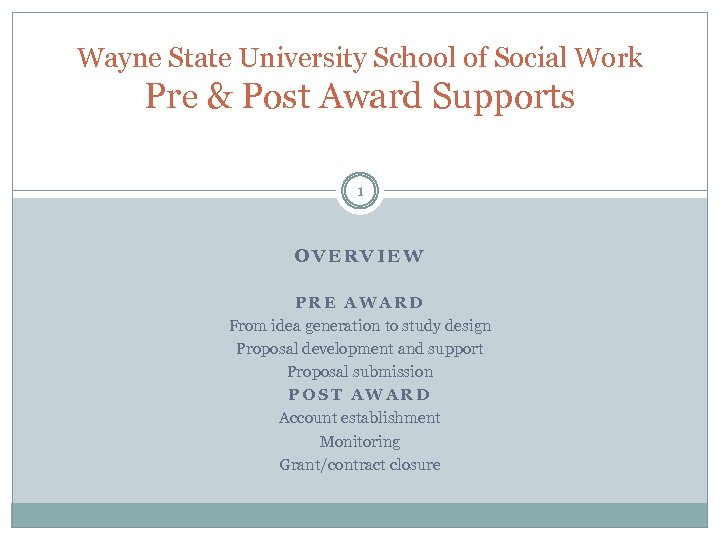Wayne State University School of Social Work Pre & Post Award Supports 1 OVERVIEW
