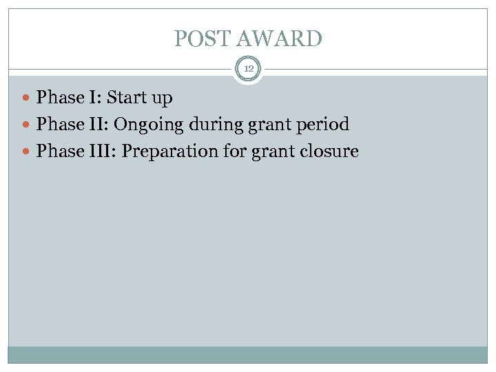 POST AWARD 12 Phase I: Start up Phase II: Ongoing during grant period Phase