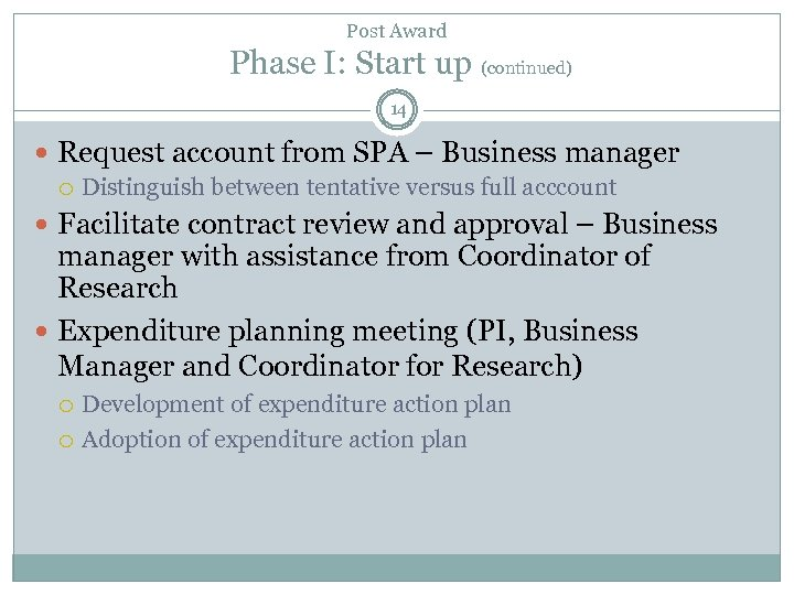 Post Award Phase I: Start up (continued) 14 Request account from SPA – Business