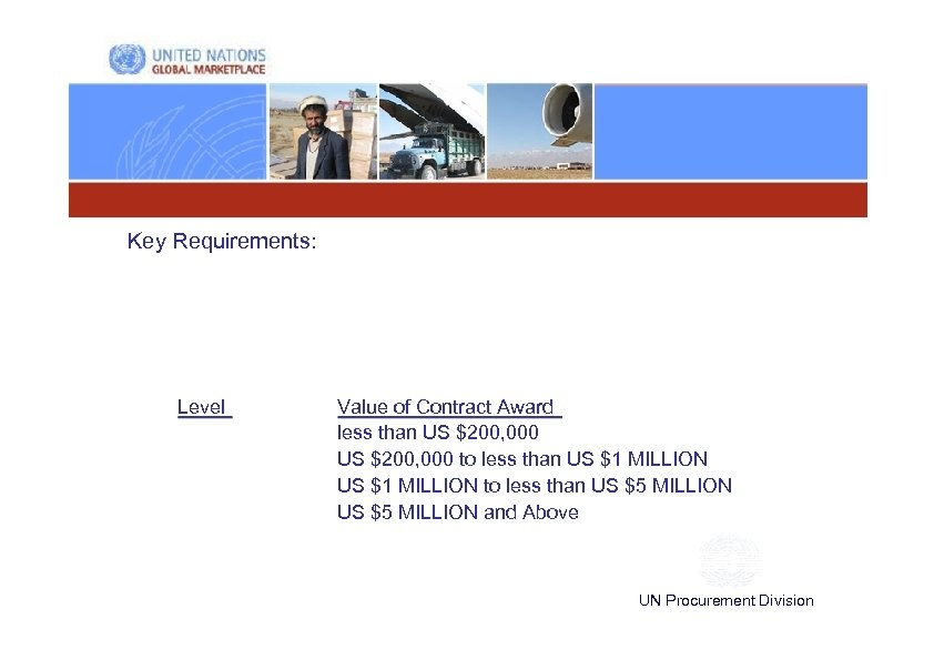Key Requirements: Level Value of Contract Award less than US $200, 000 to less