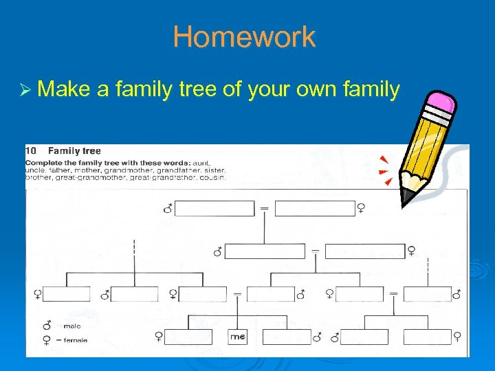 Homework Ø Make a family tree of your own family