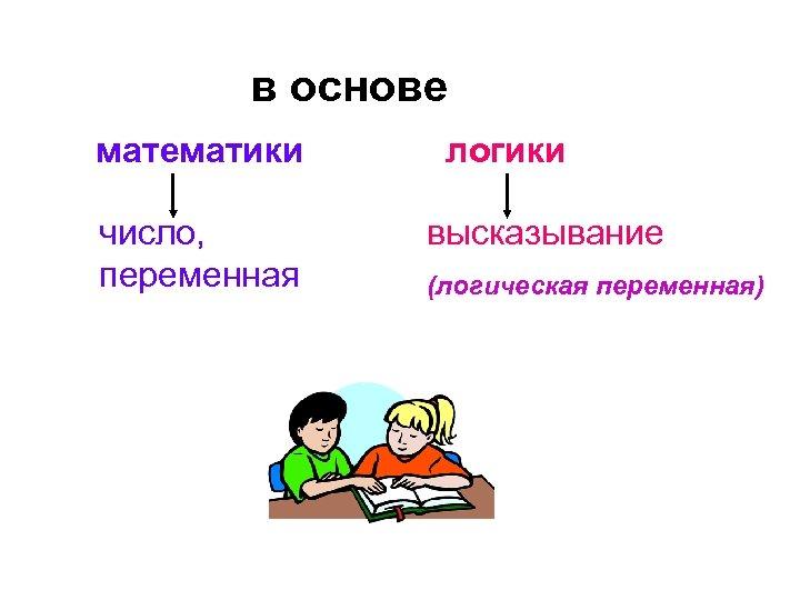 в основе математики число, переменная логики высказывание (логическая переменная)