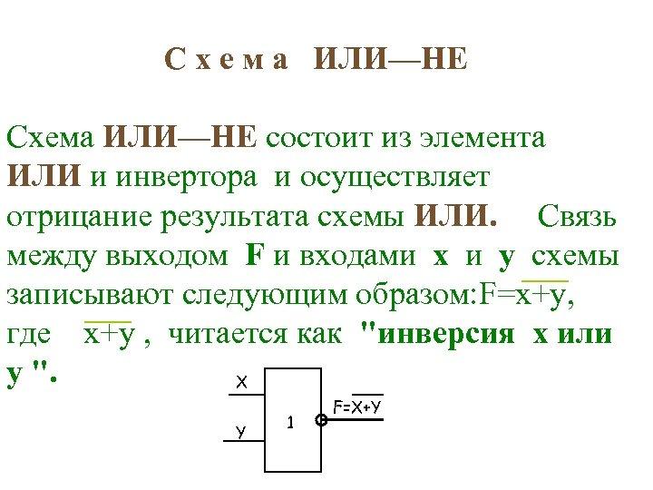 С х е м а ИЛИ—НЕ Схема ИЛИ—НЕ состоит из элемента ИЛИ и инвертора