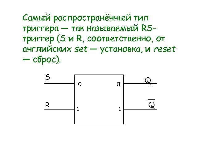 Самый распространённый тип триггера — так называемый RSтриггер (S и R, соответственно, от английских