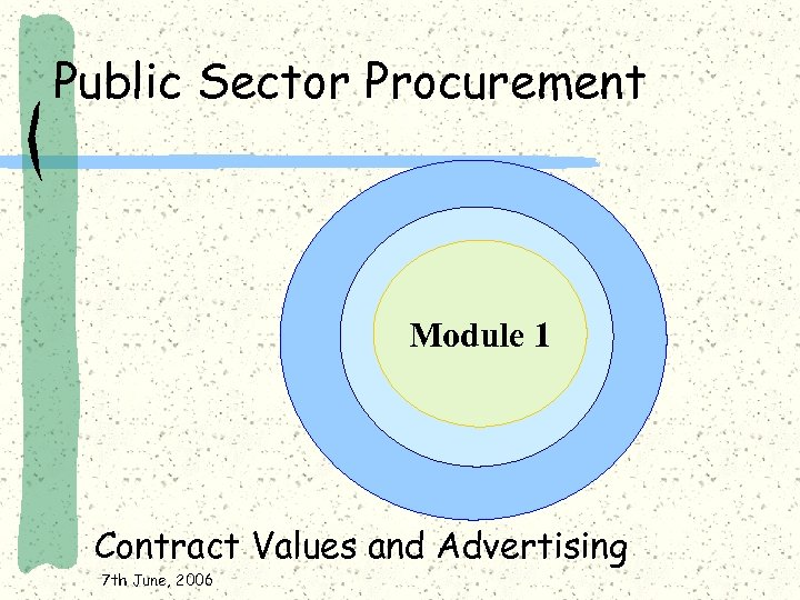 Public Sector Procurement Module 1 Contract Values and Advertising 7 th June, 2006
