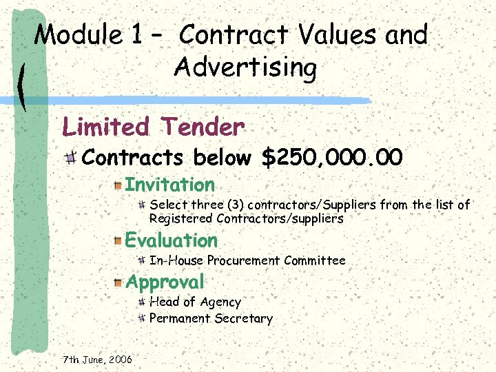 Module 1 – Contract Values and Advertising Limited Tender Contracts below $250, 000. 00