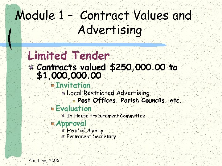 Module 1 – Contract Values and Advertising Limited Tender Contracts valued $250, 000. 00